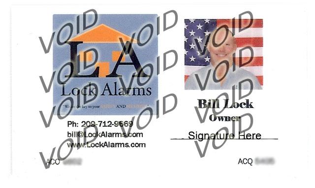 Lock Alarms: Identification Card